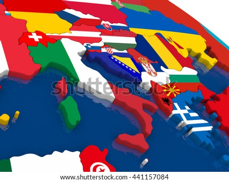 Map of Italy with embedded flags on 3D political map. Accurate official colors of flags. 3D illustration