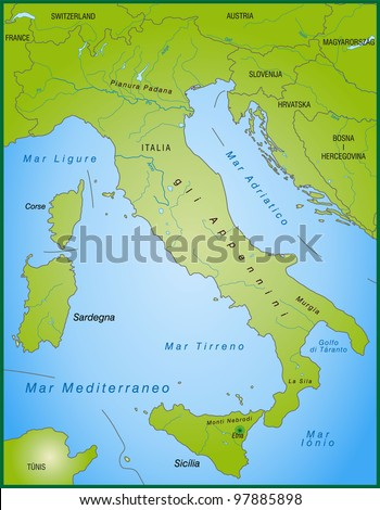 Map Italy National Colors Neighboring Countries Stock Illustration - Physical map of italy