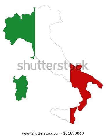 Map of Italy with official flag colors