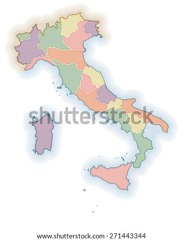 Map of Italy with region boundaries. Political map - stock photo
