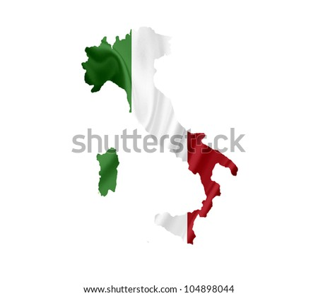 Map of Italy with waving flag isolated on white - stock photo