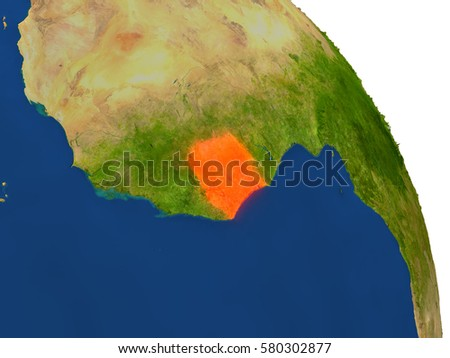 Map of Ivory Coast with surrounding region on planet Earth. 3D illustration with highly detailed planet surface. Elements of this image furnished by NASA.