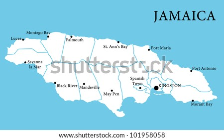 Map of Jamaica - stock photo