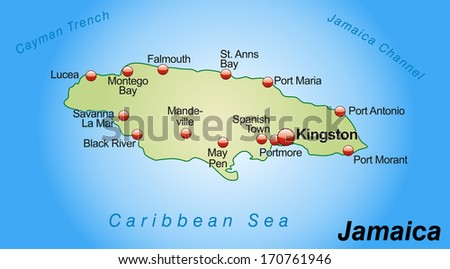Map Jamaica Overview Map Pastel Green Stock Illustration 170761946