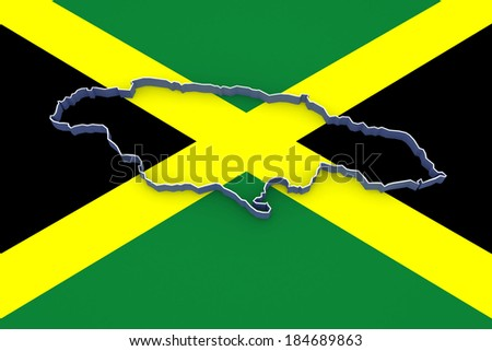 Map of Jamaica. 3d