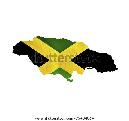 Map of Jamaica isolated - stock photo