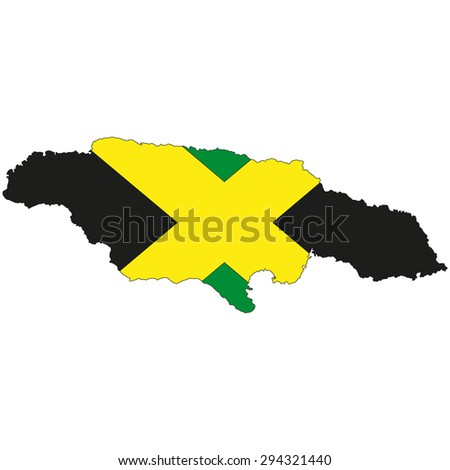 Map of Jamaica painted in the colors of the national flag - stock photo