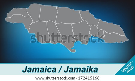 Map of Jamaica with borders in bright gray - stock photo