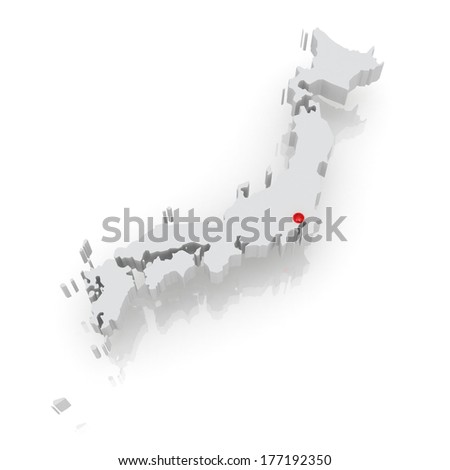 Map of Japan. 3d - stock photo