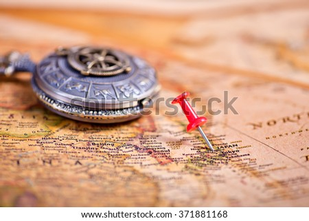 Map of Japan with a red pushpin stuck - stock photo
