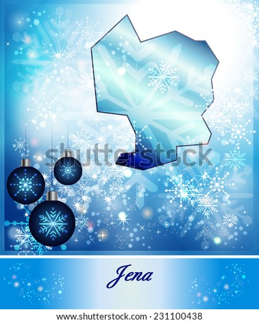Map of Jena in Christmas Design in blue