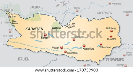 Map of kaernten as an overview map in pastel orange
