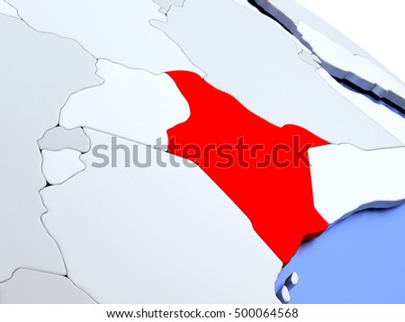 Map of Kenya on elegant silver 3D globe with blue oceans. 3D illustration