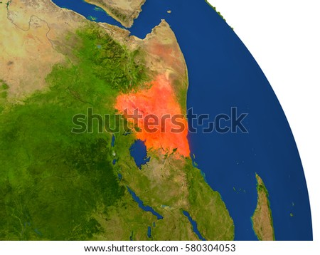 Map of Kenya with surrounding region on planet Earth. 3D illustration with highly detailed planet surface. Elements of this image furnished by NASA.