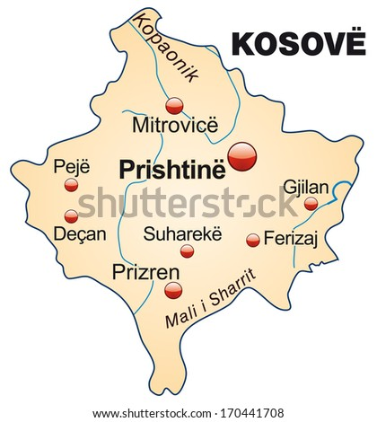 Map of Kosovo as an overview map in pastel orange