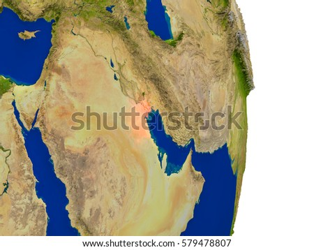 Map of Kuwait in red on planet Earth. 3D illustration with detailed planet surface. Elements of this image furnished by NASA.