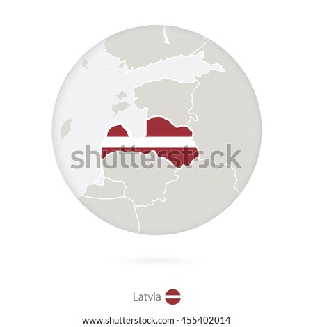 Map of Latvia and national flag in a circle. Raster copy. - stock photo