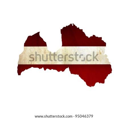 Map of Latvia isolated - stock photo