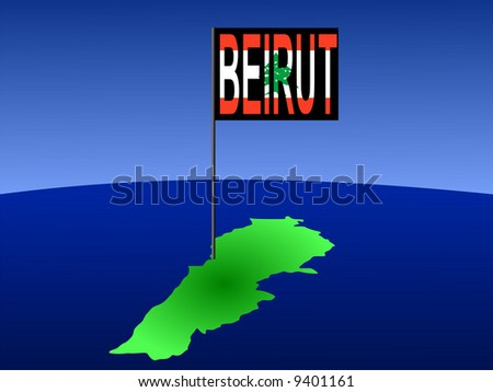 map of Lebanon with position of Beirut marked by flag pole illustration JPG