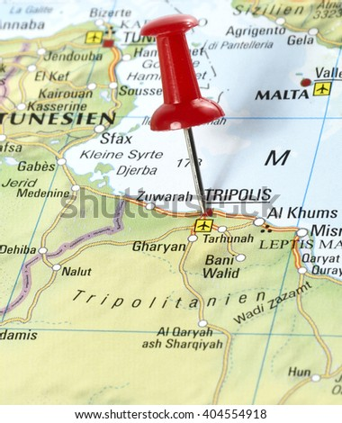 Map of Libya with pin set on Tripolis - stock photo