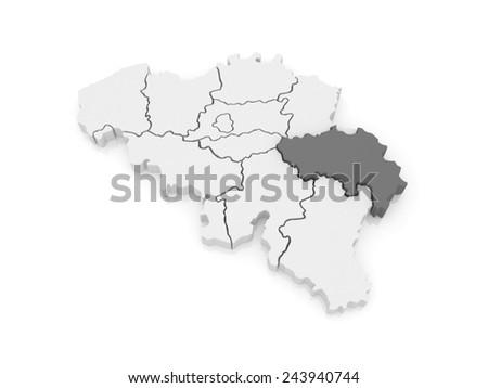 Map of Liege. Belgium. 3d - stock photo