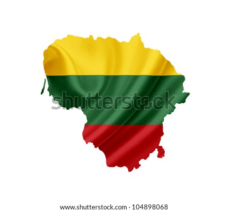 Map of Lithuania with waving flag isolated on white - stock photo