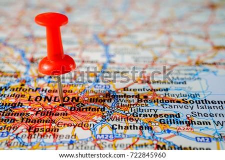 Map London Road Pushpin Stock Photo 722845960 Shutterstock