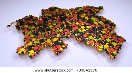 Map of Lower Saxony - Germany | Mosaic of little bricks