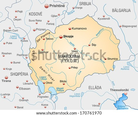 Map of Macedonia as an overview map in pastel orange