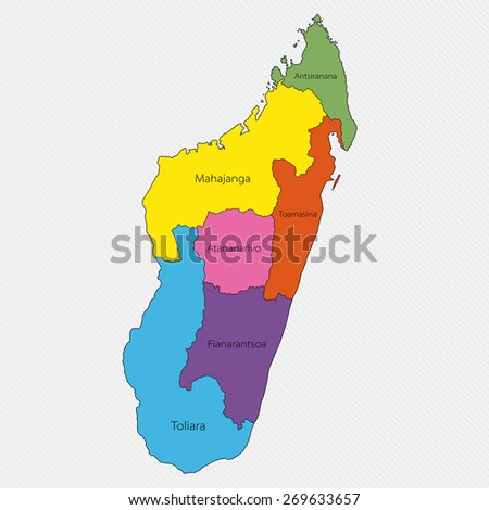 Map of Madagascar. Administrative division