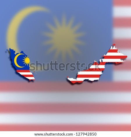 Map of Malaysia filled with flag, isolated