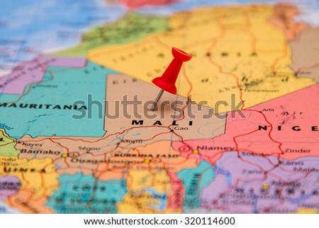 Map of Mali with a red pin - stock photo