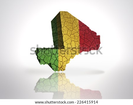 Map of Mali with Malian Flag on a white background - stock photo