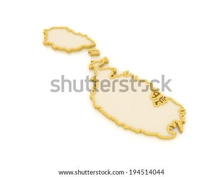 Map of Malta. 3d - stock photo