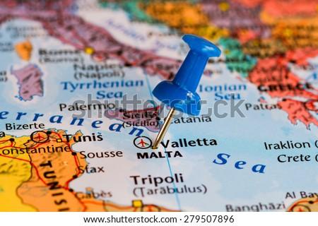 Map Malta Blue Pushpin Stuck Stock Photo Shutterstock - Malta map