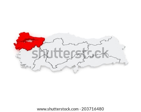 Map of Marmara Region. Turkey. 3d - stock photo