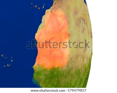 Map of Mauritania in red on planet Earth. 3D illustration with detailed planet surface. Elements of this image furnished by NASA.