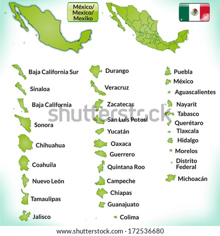Map of Mexico with borders in green