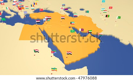 Map of Middle East with capital cities and national flag waving in the wind. Other continents / countries also available (see portfolio). - stock photo