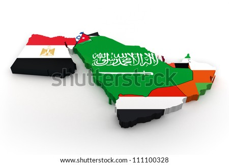 Map of Middle East with national flags - stock photo