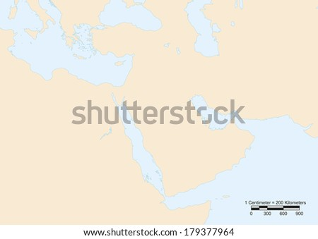 Map of Middle East with scale. Elements of this image furnished by NASA  - stock photo