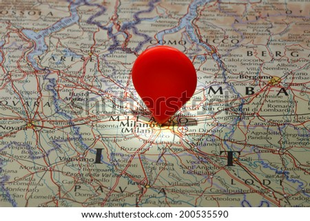 Milano pin on map stock images royalty free images vectors map of milanored map pointer stuck into map of milano gumiabroncs Image collections