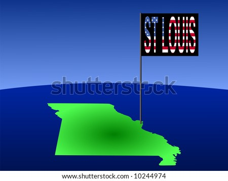 Map of Missouri with position of St louis marked by flag pole illustration JPG