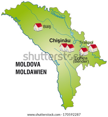Map of Moldavia as an infographic in green