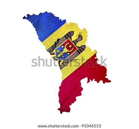 Map of Moldova isolated - stock photo