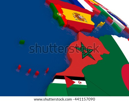 Map of Morocco with embedded flags on 3D political map. Accurate official colors of flags. 3D illustration - stock photo