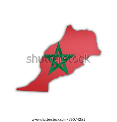 map of morocco with flag and shadow