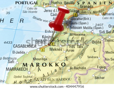 Map Morocco Pin Set On Rabat Stock Photo Shutterstock - Map of morocco