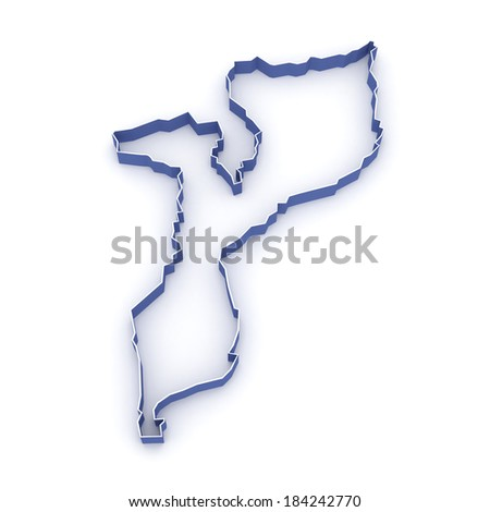 Map of Mozambique. 3d