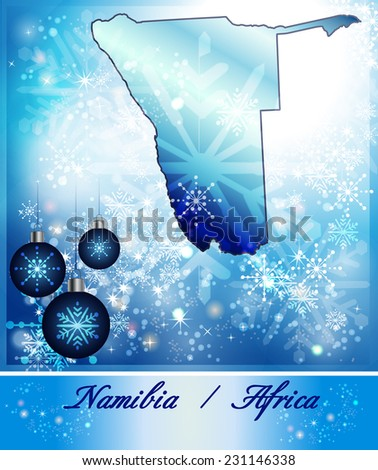 Map of Namibia in Christmas Design in blue
